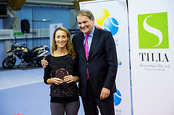 Lea Sunaric and Marko Umberger, president of TZS at Tennis exhibition day and Slovenian Tennis personality of the year 2013 annual awards presented by Slovene Tennis Association TZS, on December 21, 2013 in BTC City, TC Millenium, Ljubljana, Slovenia.  Photo by Vid Ponikvar / Sportida