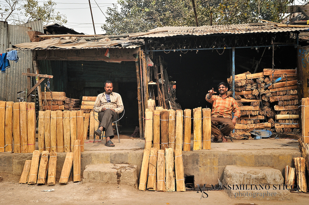 A timberyards along the street of Patna