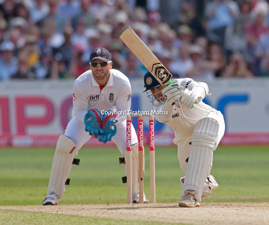 Rahul Dravid bats during the second npower Test Match between England and India at Trent Bridge, Nottingham.  Photo: Graham Morris (Tel: +44(0)20 8969 4192 Email: sales@cricketpix.com) 30/07/11