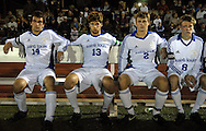 9 NOV. 2010 -- ST. LOUIS -- Starters for the St. Louis University High School soccer team, including Brian Bement (14), Ben Emnett (13), Joe Rund (2) and Rob Carr (8) await introduction before the start of the Jr. Billikens game against Christian Brothers College High School during the MSHSAA Class 3 Sectionals at SLUH Tuesday, Nov. 9, 2010. The Jr. Bills won, 2-1, on a pair of first half goals by Ryan Merrifield. SLUH will take on Jackson High School Saturday, Nov. 13 at Jackson. Image © copyright 2010 Sid Hastings.