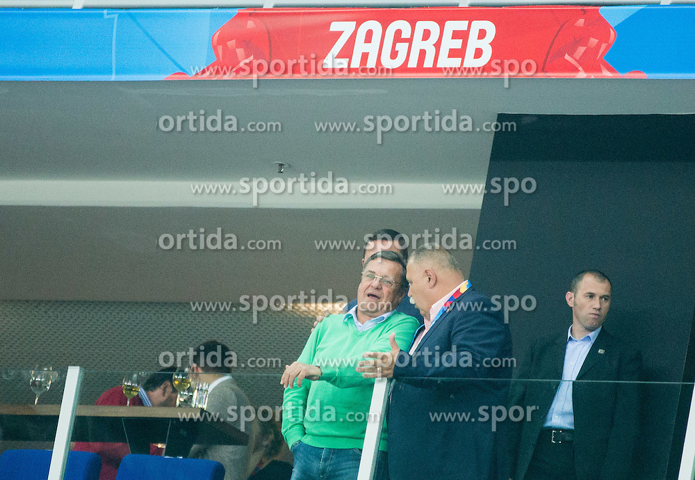 Zoran Jankovic, mayor of Ljubljana and Ivan Suker, president of Croatian Basketball Federation during basketball match between Croatia and Slovenia at Day 1 in Group C of FIBA Europe Eurobasket 2015, on September 5, 2015, in Arena Zagreb, Croatia. Photo by Vid Ponikvar / Sportida