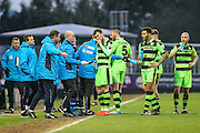 Drinks break during the Vanarama National League match between Forest Green Rovers and Braintree Town at the New Lawn, Forest Green, United Kingdom on 21 January 2017. Photo by Shane Healey.