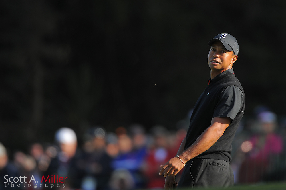 Tiger Woods reacts to a missed birdie on the 17th hole during the second round of the 112th U.S. Open at The Olympic Club on June 15, 2012 in San Fransisco. ..©2012 Scott A. Miller
