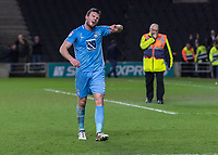 Football - 2017 / 2018 FA Cup - Fourth Round: Milton Keynes Dons vs. Coventry City<br /> <br /> Chris Stokes (Coventry City) helps clear the pitch at the final whistle after fans rush on at the Stadium MK.<br /> <br /> COLORSPORT/DANIEL BEARHAM
