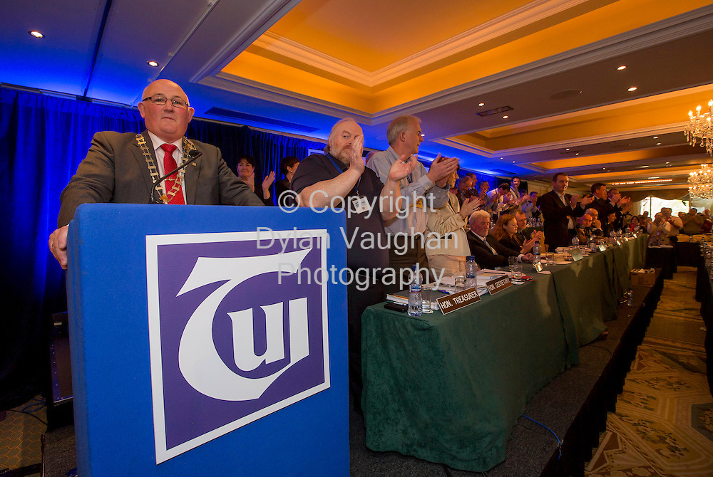 Repro Free no Charge for Repro<br /> 23/4/14<br /> <br /> Gerard Craughwell President TUI pictured giving his response to Minister Quinn at the TUI Conference at the Newpark Hotel in Kilkenny.<br /> Picture Dylan Vaughan.