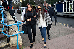 © Licensed to London News Pictures. 07/01/2019. London, UK. Former glamour model Katie Price (right) arrives at Bromley Magistrates Court after being charged with drink driving. Her pink Range Rover was found crashed in a bush on 10 October 2018. Photo credit : Tom Nicholson/LNP