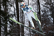 Poland, Wisla Malinka - 2017 November 19: Robert Kranjec from Slovenia soars through the air while Men&rsquo;s Individual HS134 competition during FIS Ski Jumping World Cup Wisla 2017/2018 - Day 3 at jumping hill of Adam Malysz on November 19, 2017 in Wisla Malinka, Poland.<br /> <br /> Mandatory credit:<br /> Photo by &copy; Adam Nurkiewicz<br /> <br /> Adam Nurkiewicz declares that he has no rights to the image of people at the photographs of his authorship.<br /> <br /> Picture also available in RAW (NEF) or TIFF format on special request.<br /> <br /> Any editorial, commercial or promotional use requires written permission from the author of image.