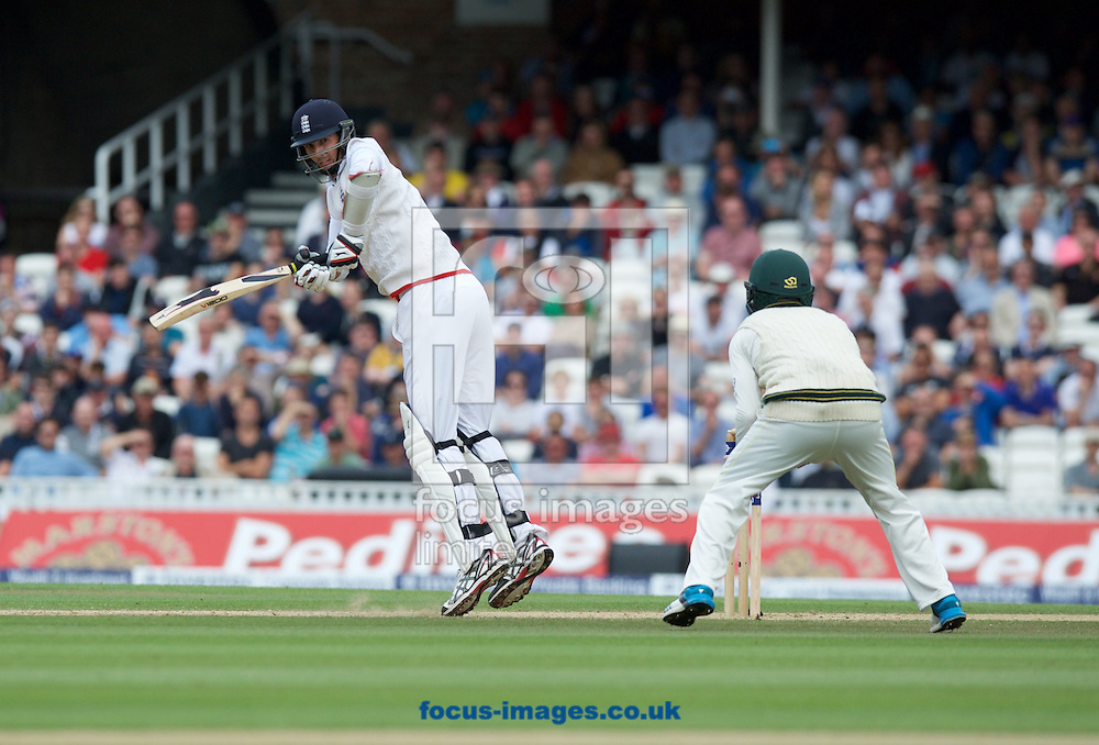 Steven Finn of England batting during the 5th Investec Ashes Test match at the Kia Oval, London<br /> Picture by Alan Stanford/Focus Images Ltd +44 7915 056117<br /> 23/08/2015