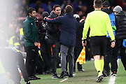 Chelsea manager Frank Lampard and Bayern Munich manager Hans-Dieter Flick shake hands after the Champions League match between Chelsea and Bayern Munich at Stamford Bridge, London, England on 25 February 2020.