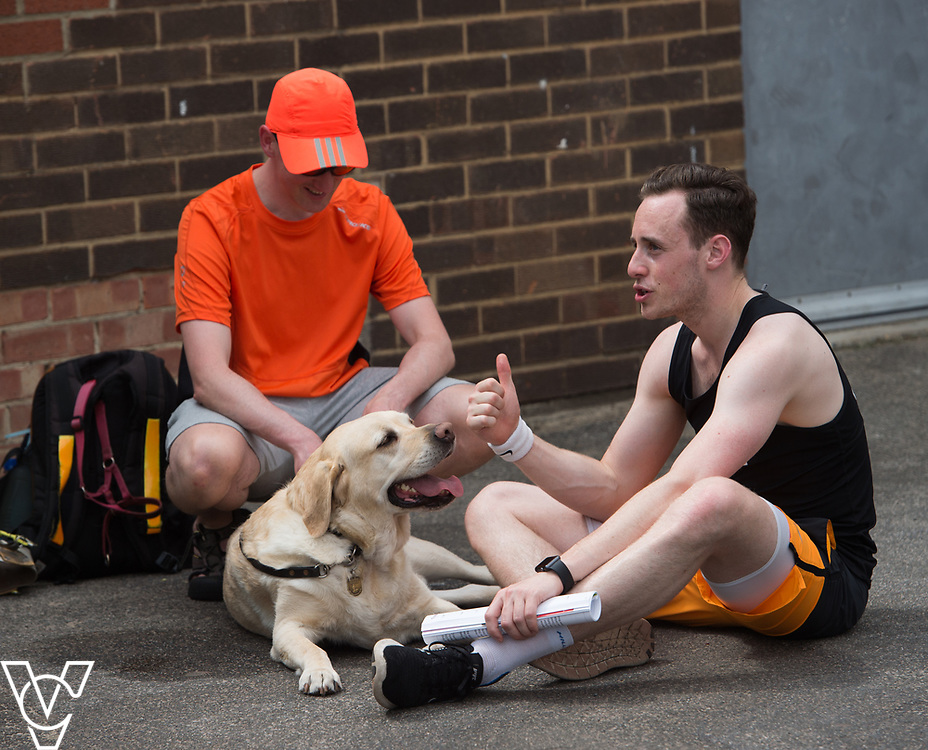 Metro Blind Sport's 2017 Athletics Open held at Mile End Stadium.  Athletes and guide runners with a guide dog<br /> <br /> Picture: Chris Vaughan Photography for Metro Blind Sport<br /> Date: June 17, 2017
