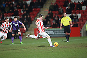 Jack Dunn scores from the penalty spot during the Sky Bet League 2 match between Cheltenham Town and Morecambe at Whaddon Road, Cheltenham, England on 16 January 2015. Photo by Shane Healey.