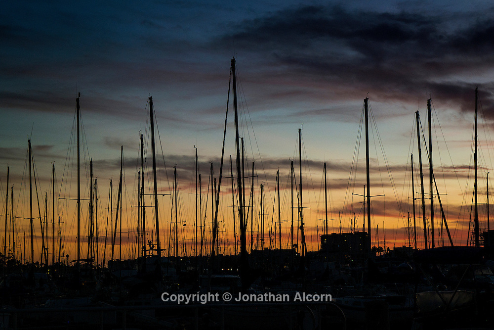 Masts of sailboats berthed in Marina del Rey