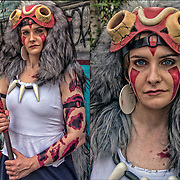 Cosplay attendee in her costume, as San&quot; from princess Mononoke animie (wolf girl) .<br />