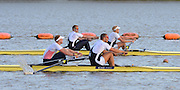 Reading. United Kingdom. GBR M2- top, left George NASH, looks round to see Alex GREGORY and Mo SBIHI passing him and partner Andy TRIGGS HODGE.  During the men's pair final. 2014 GBRowing Senior trials,  Redgrave and Pinsent Rowing Lake. Caversham.<br /> <br /> 18:36:48  Saturday  19/04/2014<br /> <br />  [Mandatory Credit: Peter Spurrier/Intersport<br /> Images]