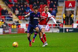 David Ball of Rotherham United tackles Ben Close of Portsmouth - Mandatory by-line: Ryan Crockett/JMP - 20/01/2018 - FOOTBALL - Aesseal New York Stadium - Rotherham, England - Rotherham United v Portsmouth - Sky Bet League One