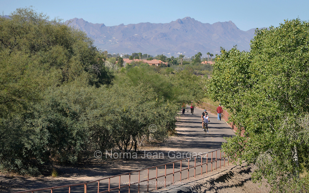 Outdoor enthusiasts traverse the Rillito River Park west of Craycroft Road in Tucson, Arizona, USA.  The Loop around metro Tucson links Marana, Oro Valley, and South Tucson.  Pedestrians, cyclists, equestrians and those on other non-motorized vehicles can enjoy more than 100 miles of paths.  When completed, The Loop will total 131 miles.