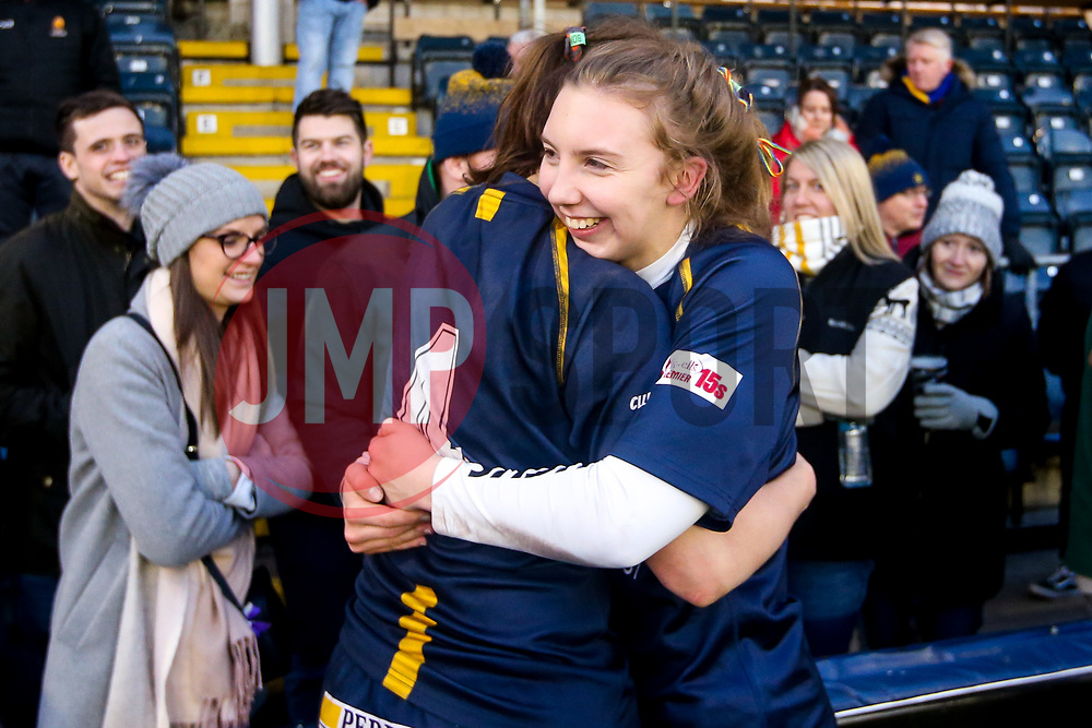 Laura Thomas of Worcester Warriors Women and Lyndsay O'Donnell of Worcester Warriors Women celebrate victory over Bristol Bears Women - Mandatory by-line: Robbie Stephenson/JMP - 01/12/2019 - RUGBY - Sixways Stadium - Worcester, England - Worcester Warriors Women v Bristol Bears Women - Tyrrells Premier 15s