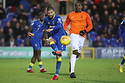 AFC Wimbledon defender George Francomb (7) clearing from Southend United striker Nile Ranger (50) during the EFL Sky Bet League 1 match between AFC Wimbledon and Southend United at the Cherry Red Records Stadium, Kingston, England on 1 January 2018. Photo by Matthew Redman.