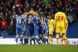 Brighton & Hove Albion celebrate a goal scored by Solly March of Brighton & Hove Albion - Mandatory byline: Robbie Stephenson/JMP - 07966 386802 - 07/11/2015 - FOOTBALL - Falmer Stadium - Brighton, England - Brighton v MK Dons - Sky Bet Championship