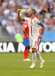 SAMARA, June 17, 2018  Aleksandar Kolarov of Serbia celebrates scoring during a group E match between Costa Rica and Serbia at the 2018 FIFA World Cup in Samara, Russia, June 17, 2018. (Credit Image: © Fei Maohua/Xinhua via ZUMA Wire)
