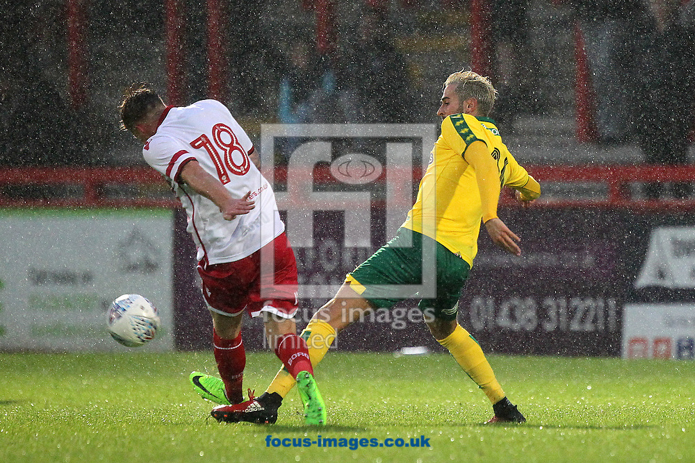Tom Conlon of Stevenage and Mario Vrancic of Norwich in action during the Pre-season Friendly match at the Lamex Stadium, Stevenage<br /> Picture by Paul Chesterton/Focus Images Ltd +44 7904 640267<br /> 11/07/2017