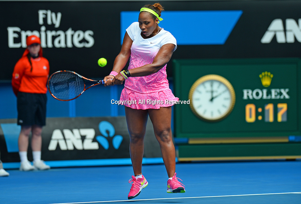Taylor Townsend (USA) during the 1st round of play<br /> 2015 Australian Open Tennis / Day 2<br /> Grand Slam of Asia Pacific<br /> Melbourne Park, Vic Australia<br /> Tuesday 20 January 2015<br /> &copy; Sport the library / Jeff Crow