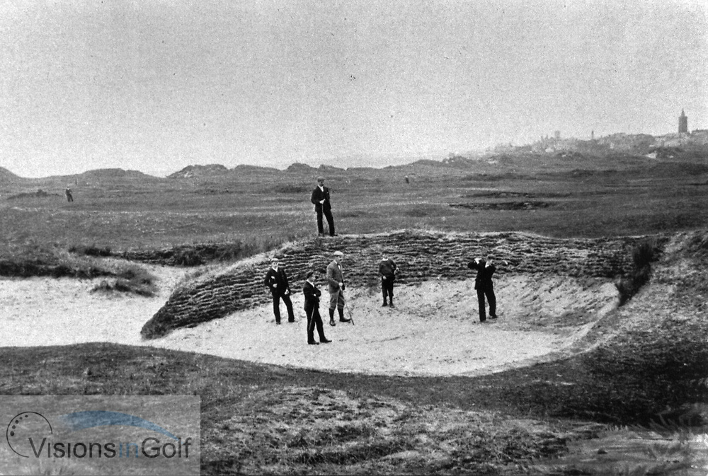 A scene at St. Andrews in the late 1800's the 14th bunker  and golfers playing<br /> Picture Credit: &copy;Visions In Golf / Hobbs Golf Collection