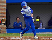 Hampton University sophomore outfielder Adrianna Scott connects during Hampton's doubleheader split against Morgan State University at the Lady Pirates Softball Complex on the campus of Hampton University in Hampton, Virginia.  (Photo by Mark W. Sutton)