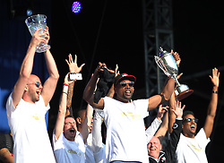 The Leicester Riders show off their trophies at Victoria park during the victory celebrations - Mandatory by-line: Jack Phillips/JMP - 16/05/2016 - FOOTBALL - Leicester City FC, Sky Bet Premier League Winners 2016 - Leicester City Victory Parade