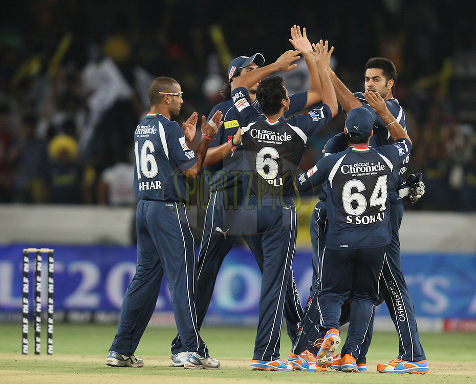 Deccan Chargers team celebrate after wicket of Mayank Agarwal (not in picture) of Royal Challengers Bangalore during match 11 of the Indian Premier League ( IPL ) between the Deccan Chargers and the Royal Challengers Bangalore held at the Rajiv Gandhi International Cricket Stadium in Hyderabad on the 14th April 2011...Photo by Parth Sanyal/BCCI/SPORTZPICS