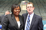 Nicole Moore of Key Middle School, pictured with Houston ISD superintendent Terry Grier, is one of the district's Principals of the Year.