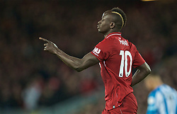 LIVERPOOL, ENGLAND - Friday, April 26, 2019: Liverpool's Sadio Mane celebrates scoring the fourth goal during the FA Premier League match between Liverpool FC and Huddersfield Town AFC at Anfield. (Pic by David Rawcliffe/Propaganda)