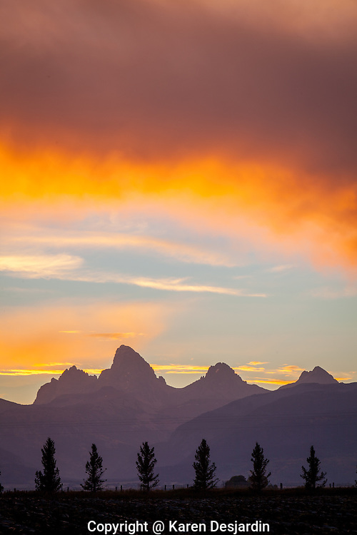 Sunrise colors over the Tetons as viewed from the Teton Valley, near Driggs, Idaho.