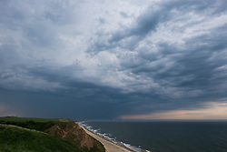 © Licensed to London News Pictures.01/07/15<br /> Saltburn by the Sea, UK. <br /> <br /> The dark clouds of a thunderstorm pass over Teesside and head out into the north sea after what has been one of the hottest days so far this year.<br /> <br /> Photo credit : Ian Forsyth/LNP