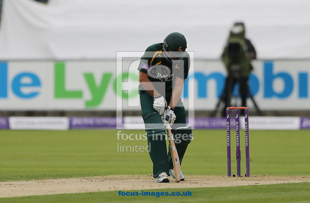 Michael Lumb of Nottinghamshire Outlaws gets out during the Royal London One Day Cup match at Emirates Durham ICG, Chester-le-Street<br /> Picture by Simon Moore/Focus Images Ltd 07807 671782<br /> 06/09/2014