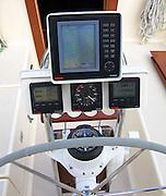 pedestal on sailboat with instruments; radar; tridata; wind; speed; depth