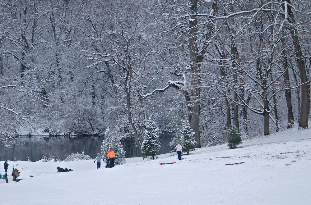 Winter Snow, Berks Co., PA Scene, Sledding at Gring's Mill