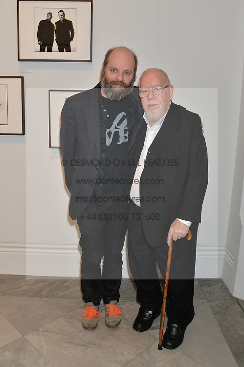 Left to right, GAVIN TURK and SIR PETER BLAKE at a private view of photographs by David Bailey entitled 'Bailey's Stardust' at the National Portrait Gallery, St.Martin's Place, London on 3rd February 2014.