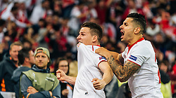 18.05.2016, St. Jakob Park, Basel, SUI, UEFA EL, FC Liverpool vs Sevilla FC, Finale, im Bild Torjubel Kevin Gameiro (FC Sevilla), Vitolo (FC Sevilla) // Goal Celebration Kevin Gameiro (FC Sevilla) Vitolo (FC Sevilla) during the Final Match of the UEFA Europaleague between FC Liverpool and Sevilla FC at the St. Jakob Park in Basel, Switzerland on 2016/05/18. EXPA Pictures © 2016, PhotoCredit: EXPA/ JFK