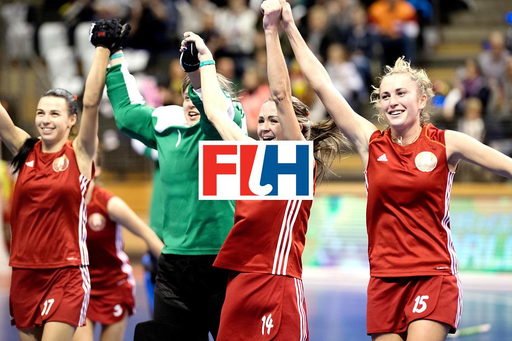 BERLIN - Indoor Hockey World Cup<br /> Bronze: Ukraine - Belarus<br /> Belarus wins 3rd place.<br /> foto: Herman Kruis.<br /> WORLDSPORTPICS COPYRIGHT FRANK UIJLENBROEK