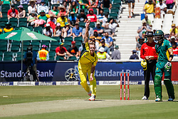 Joe Mennie bowls for Australia during the 2nd ODI match between South Africa and Australia held at The Wanderers Stadium in Johannesburg, Gauteng, South Africa on the 2nd October  2016<br /> <br /> Photo by Dominic Barnardt/ RealTime Images