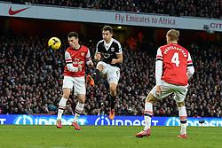 Southampton's Jay Rodriguez takes a shot at goal - Photo mandatory by-line: Mitchell Gunn/JMP - Tel: Mobile: 07966 386802 23/11/2013 - SPORT - Football - London - Emirates Stadium - Arsenal v Southampton - Barclays Premier League
