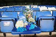 Floral Tributes to Bury Fan, Ian Doody, who passed away during Bury's last home game against Carlisle United before  the EFL Sky Bet League 2 match between Bury and Mansfield Town at the JD Stadium, Bury, England on 6 October 2018.