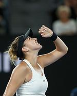 BELINDA BENCIC (SUI) jubelt nach ihrem Sieg, Jubel,Freude,Emotion,<br /> <br /> <br /> Tennis - Australian Open 2018 - Grand Slam / ATP / WTA -  Melbourne  Park - Melbourne - Victoria - Australia  - 15 January 2018.