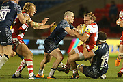 Sale's J Ross stops Gloucester during the Aviva Premiership match between Sale Sharks and Gloucester Rugby at the AJ Bell Stadium, Eccles, United Kingdom on 29 September 2017. Photo by George Franks.