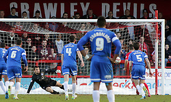 Crawley Town's Matt Tubbs scores the winning goal from the penalty spot - Photo mandatory by-line: Joe Dent/JMP - Tel: Mobile: 07966 386802 01/03/2014 - SPORT - FOOTBALL - Crawley - Broadfield Stadium - Crawley Town v Peterborough United - Sky Bet League One