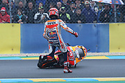 Another crash for #93 Marc Marquez, Spanish: Repsol Honda Team during the MotoGP Grand Prix de France at the Bugatti Circuit at Le Mans, Le Mans, France on 18 May 2019.