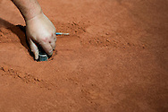 Specialist team KortBud build clay court in Torwar Hall ten days before the BNP Paribas Davis Cup 2013 between Poland and Australia in Warsaw on September 03, 2013.<br /> <br /> Poland, Warsaw, September 03, 2013<br /> <br /> Picture also available in RAW (NEF) or TIFF format on special request.<br /> <br /> For editorial use only. Any commercial or promotional use requires permission.<br /> <br /> Photo by © Adam Nurkiewicz / Mediasport