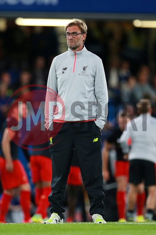 Liverpool manager Jurgen Klopp stand on the pitch watching Chelsea warm up - Mandatory by-line: Jason Brown/JMP - 16/09/2016 - FOOTBALL - Stamford Bridge - London, England - Chelsea v Liverpool - Premier League