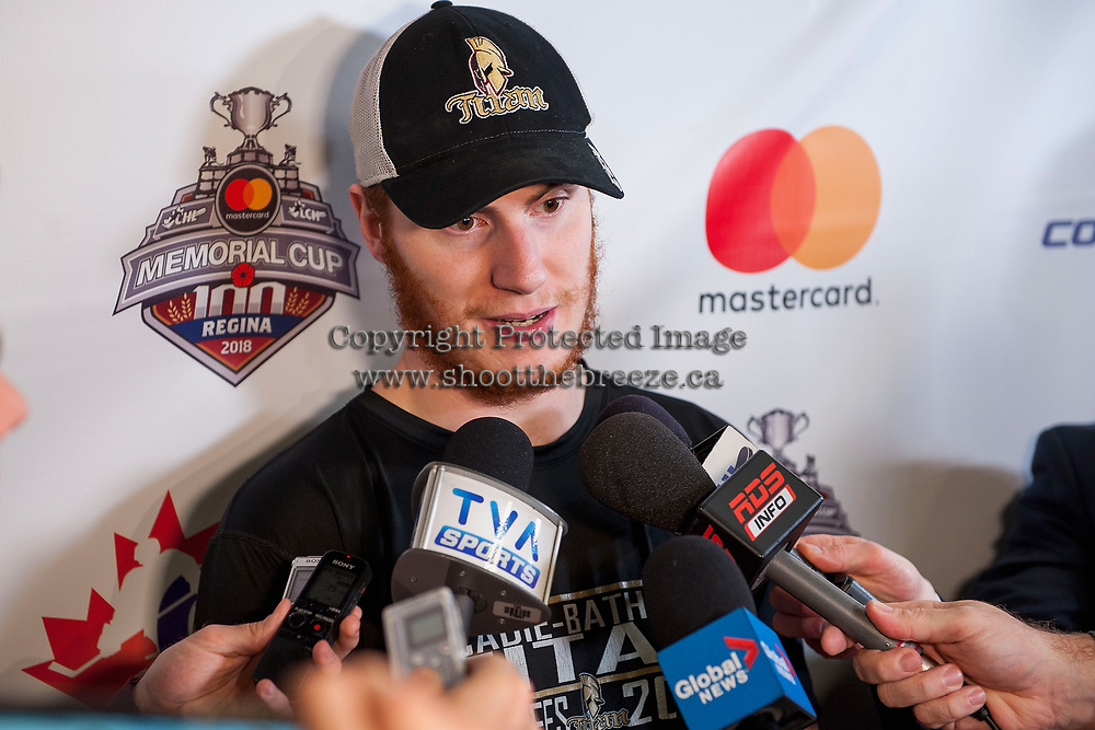 REGINA, SK - MAY 19: Evan Fitzpatrick #31 of Acadie-Bathurst Titan answers media questions after the game against the Swift Current Broncos at the Brandt Centre on May 19, 2018 in Regina, Canada. (Photo by Marissa Baecker/CHL Images)
